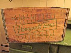 Vintage Wooden Milk Crate  Honeywell Farms  by EagleWingVintage, $37.00