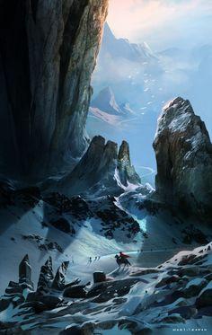 snooping by irawan | Fantasy setting scenery winter snow mountains lone traveler | CGHub || Worldbuilding & Landscapes