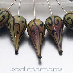 Glass Headpins - helix teardrops (1) - raku and black on sterling silver wire - by Jennie Yip