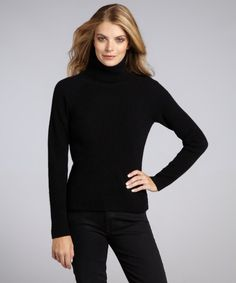 designer cashmere sweaters for women   Qi women's black cashmere ribbed turtleneck sweater