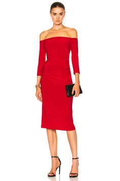 Norma Kamali Off Shoulder Shirred Waist Dress in Red   FWRD
