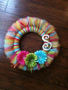 Personalized Tutu Wreath by TutusByCheri on Etsy Tulle Crafts, Wreath Crafts, Diy Wreath, Wreath Ideas, Tulle Wreath Tutorial, Wreath Making, Holiday Wreaths, Mesh Wreaths, Holiday Crafts
