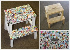 Ikea Bekväm stool - covered with stamps