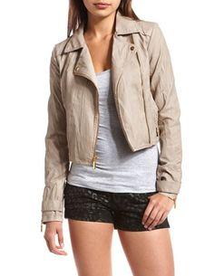 Charlotte Russe - Zipper-Cuff Motorcycle Jacket  $39.99