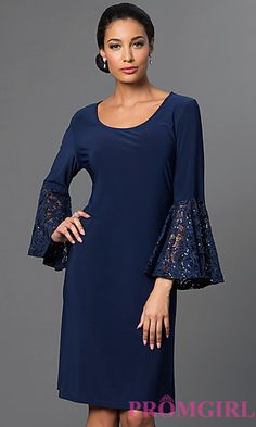 Knee Length Bell Sleeve Dress by Morgan at PromGirl.com