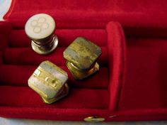 Vintage B&W 1928 Art Deco Cuff Links Kum-A-Part +tSingle Mother Pearl Snap-Link  #Unbranded