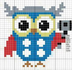 Gráfico Cross Stitch Owl, Cross Stitch Freebies, Simple Cross Stitch, Cross Stitch Animals, Cross Stitching, Cross Stitch Patterns, Owl Perler, Crochet Diagram, Chart Design