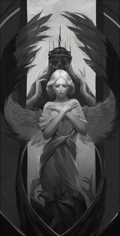 "Stuff Kookri Likes : adedrizils-shrine: "" Angel by GreenBreen "" Dark Fantasy Art, Fantasy Kunst, Dark Art, Angel Drawing, Angel Sketch, Demon Tattoo, Samurai Tattoo, Art Noir, Angel Artwork"