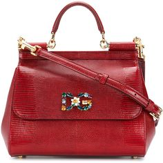 Dolce & Gabbana Sicily logo plaque bag (€1.810) ❤ liked on Polyvore featuring bags, handbags, red, top handle handbags, shoulder bag purse, red purse, red leather shoulder bag and dolce gabbana handbags
