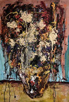 wsito- Frenetyzm z kwiatami (mixed media on canvas, 90x60cm)
