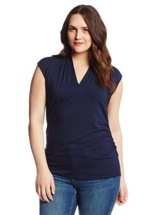 #FashionBug Womens Plus Size Sleeveless Pleat V-Neck Top
