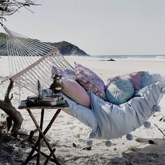 Cozy hammock on the beach with cushions and throws perfect for a picnic by the sea too . The Beach, Beach Bum, Summer Beach, Summer Vibes, Summer Sun, Beach Trip, Hammock Beach, Hammocks, Beach Relax