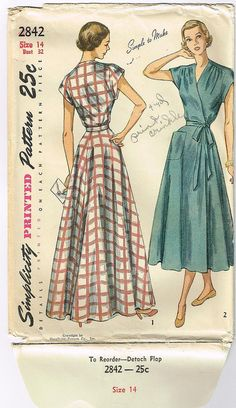 1940's Misses One-Piece Wrap Around Dress Pattern Size 14 Bust 32 Simplicity 2842 FF. $15.99, via Etsy.