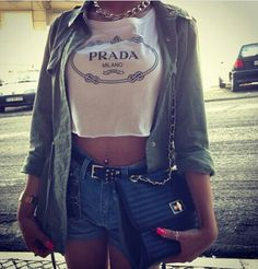 Prada graphic crop top