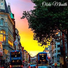 Good Night From Ireland  Sunset falls over O'Connell Street Dublin in this picture by @vidanamala