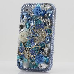 Black Friday Bling 3D Swarovski Diamond Blue Butterfly Crystal Bling Case Cover faceplate for iphone 4 4S AT