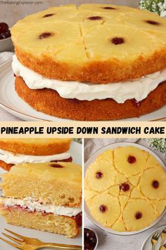 Recipe for Pineapple Upside Down Sandwich Cake filled with whipped cream & strawberry jam and topped with a stunning pineapple pattern! A modern twist on a retro classic #thebakingexplorer #pineappleupsidedowncake #retrobaking #easyrecipes #pineapplecake Pineapple Upside Down Cake, Pineapple Cake, Sandwich Cake, Sandwiches, Pineapple Pattern, Strawberry Jam, Cake Servings, Cake Tins, Round Cakes