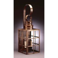 Northeast Lantern Suffolk 1 Light Outdoor Wall Lantern Finish: Antique Copper, Shade Type: Clear Seedy