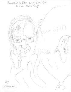Smasch's Ear and Eva Cox, Glebe Deli Cafe 2009 pen & black ink 14 x 18 cm by © Susan Dorothea White Deli Cafe, Sketch, Ear, Drawings, Artist, Black, Sketch Drawing, Black People, Artists