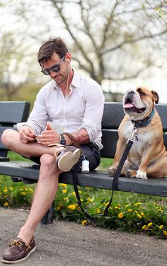 Hello, Mr. Modern Day Don Draper. I like your Sperrys. And your shadse. And your book. And of course, your pup.
