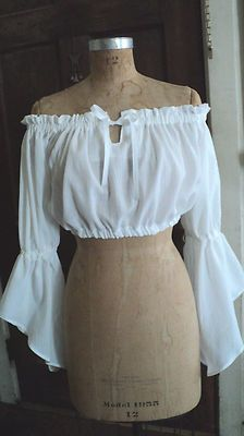 LADIES CROP TOP WHITE GAUZE RENFAIRE SCA LARP PIRATE GYPSY BELLY DANCE FANTASY