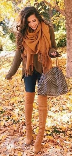 #winter #outfits / Camel Scarf // Green Knit // Skinny Jeans // Camel Over The Knee Boots