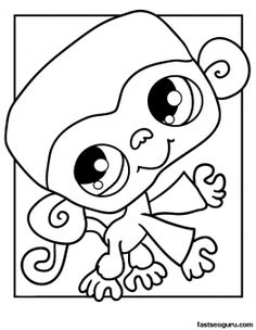 Printable Littlest Pet Shop Coloring Page Monkey - Printable Coloring Pages For Kids