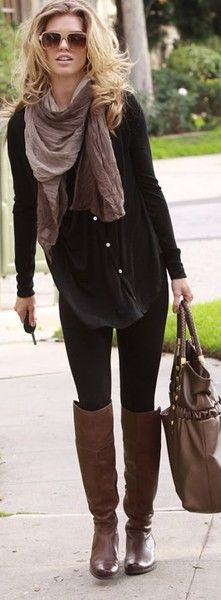 Brown boots, black leggings, black loose button up top, scarf