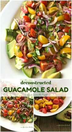 Deconstructed Guacamole Salad - An Affair from the Heart -- Ripe heirloom tomatoes, red onion, avocado and cilantro tossed in a homemade lime dressing.  This Deconstructed Guacamole Salad needs to make it on your table tonight!