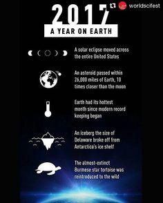 #Repost @worldscifest (@get_repost) ・・・ Looking back on Earth's year. #TBT 🌍 . . . . . . . . . . #earth #2017 #endofyear #newyear #newyears #nature #eclipse #climate #climatechange #animals #species #extinction #life #asteroid #space #science #thisyear #lookingback #reflection #throwbackthursday #infographic #facts