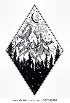 Hand drawn nature pine forest cones with mountains landscape, beautiful night sky. Isolated vintage vector illustration. Invitation. Tattoo, travel, adventure, meditation symbol. The great outdoors. - Shutterstock Premier