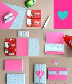 Find images and videos about pink, chocolate and diy on We Heart It - the app to get lost in what you love. Easy Diy Crafts, Diy Crafts For Kids, Tarjetas Diy, Gift Wraping, Jw Gifts, Painted Rocks Kids, Diy Gifts For Boyfriend, Valentines Diy, Organizer