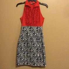"NWOT ARMANI EXCHANGE XS RED RUFFLE Dress 60% cotton..35% nylon.. 5% spandex..size XS..MEASURES..31"" bust...36"" length...ruffle v neck..sleeveless..zips up the side..beautiful dress..NWOT Armani Exchange Dresses Midi"