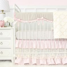 Blake's Vintage Pink Line-Lace Bumperless crib bedding set