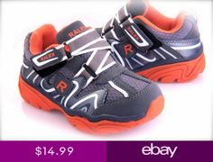 6f5229ee2254 Toddler Boys Sport Tennis shoes Easy to Wear Grey   Orange Light Weigh