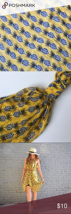 "Printed Village Pineapple Scarf Beautiful, lightweight pineapple print scarf by Printed Village. Perfect size to utilize as a vest or even dress 😊 75"" x 37"" only worn twice. There is a slight snag but nothing noticeable once draped on the body. Otherwise in good condition. Accessories Scarves & Wraps"