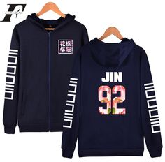 hip hop BTS kpop kore Zipper printed Hoodie sweatshirt Bangtan Boys Young Forever Winter cotton suga 93 hoodies men Jacket