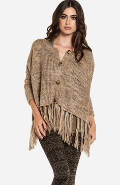 Lucca Couture Oversized Fringed Cardigan with winter print leggings