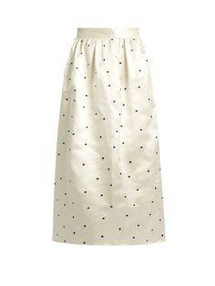 Jupe by Jackie Open P Gala polka-dot embroidered satin skirt