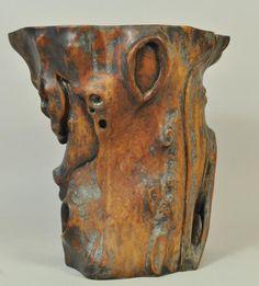 Antique Chinese burlwood brush pot ($450)