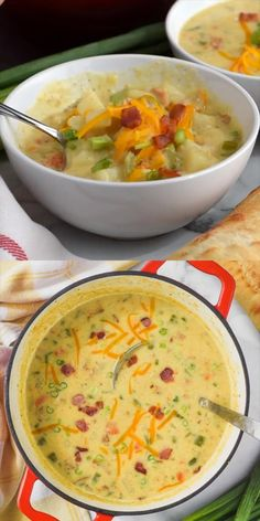 Comforting soup is exactly what cold weather needs! 🥶 🍲 And this Creamy Potato Soup with bacon is as good as it gets. Bacon Recipes, Healthy Soup Recipes, Salad Recipes, Cooking Recipes, Creamy Soup Recipes, Recipes With Celery, Simple Soup Recipes, Summer Soup Recipes, Potato Bacon Soup
