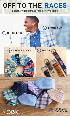 Want to look like a true southern gentleman at the horse races this season? Arrive on the scene sporting boldly-hued pants in lime green, cool blue or coral pink. Pair them with a dress shirt, a belt and pull it all together with a plaid sport coat. The finishing touches? Loafers and colorful socks, a tie and a Moscow Mule in hand! Shop southern prep for men in store and online at belk.com.