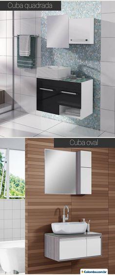 Seu lar merece um banheiro com estilo. O diferencial pode estar no formato da cuba. Confira nossas opções: http://www.colombo.com.br/produto/Moveis/Banheiro/Balcao?utm_source=Pinterest&utm_medium=Post&utm_content=Balcao&utm_campaign=Produto-4jun14