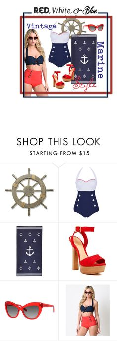 """Vintage marine style⚓️"" by francesca-fashiongraphic on Polyvore featuring moda, Adeco, Schutz, Kate Spade, Unique Vintage, vintage, redwhiteandblue, marine e july4th"