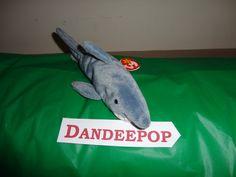 Original TY Beanie Babie Crunch Shark 1996 stuffed animal find me at www.dandeepop.com