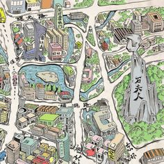 Illustrator chen14 moved to Shanghai at the age of fourteen. Here, he commemorates his hometown of Wenling in this hand-drawn map of the city, including tourist locations and important information.