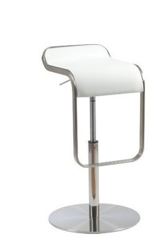 """Euro Style Freddy Bar/Counter Stool, White Leather/Stainless Steel by Euro Style. $278.64. Durable satin-finished steel base. Adjustable to bar or counter height. Quality italian leather seat. Chair swivels. No assembly required. Soft Italian leather seat  Satin-finished, stainless steel base and footrest  Gas lift and swivel Fully assembled Seat: 14""""W x 13""""D x 21""""- 30""""H. Save 50% Off!"""