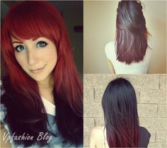 straight black and red ombre hair color for medium hair