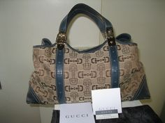 A gorgeous tote bag made of signature beige canvass with brown horsebit designs and teal leather with contrasting white stitching and light gold hardware. With 1 inside zipper compartment. With inside strap to pull together the sides of the bag. Gucci Horsebit, Gold Hardware, Bag Making, Stitching, Teal, Beige, Zipper, Tote Bag, Brown