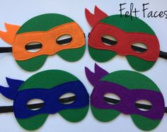 SET OF 12 Ninja Turtle Masks TMNT Birthday by KSFeltFaces on Etsy